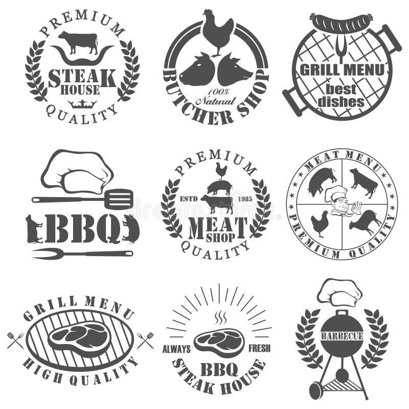 Uppsättningen av slaktare shoppar etiketter stock illustrationer