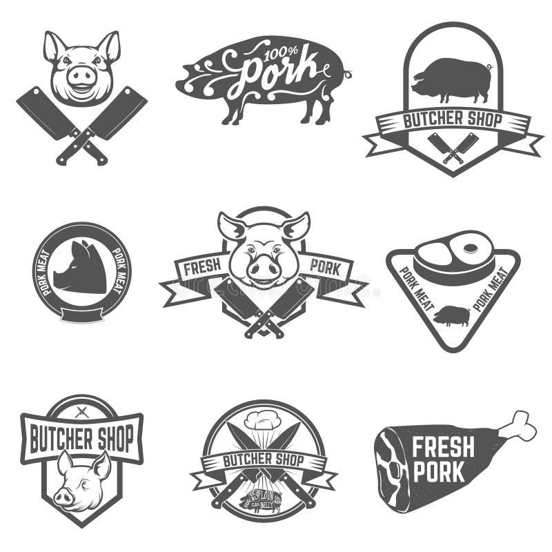 Uppsättningen av slaktaren shoppar, nya grisköttetiketter royaltyfri illustrationer