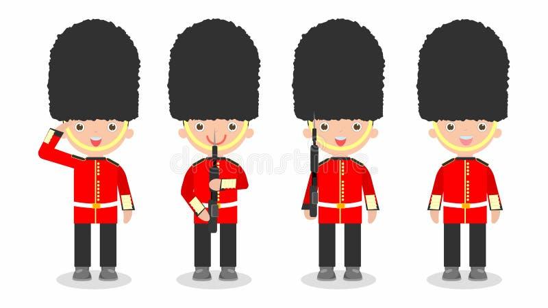 Uppsättningen av soldater, britt tjäna som soldat med vapnet, lurar bärande soldatdräkter stock illustrationer