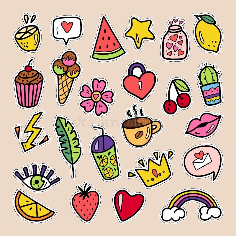 Uppsättningen av sommarlappar körsbäret, jordgubben, vattenmelon, kanter, steg blomman, regnbågen, hjärtor etc. Isolerat på vit,  stock illustrationer