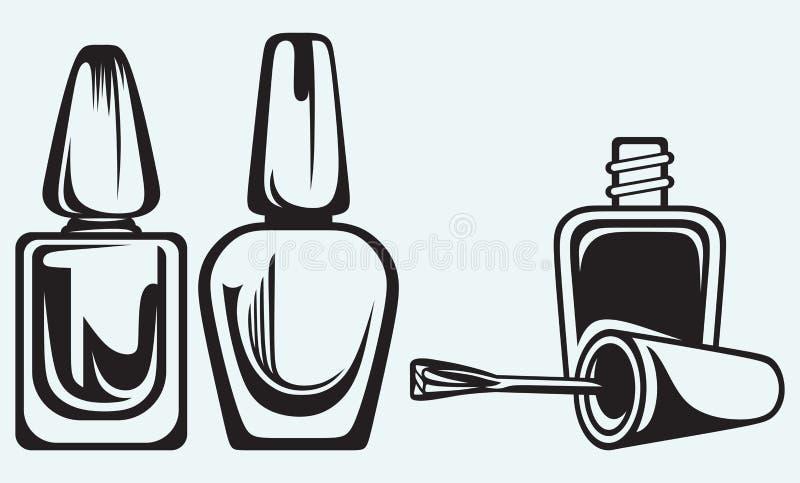 Uppsättningen av spikar polermedel stock illustrationer