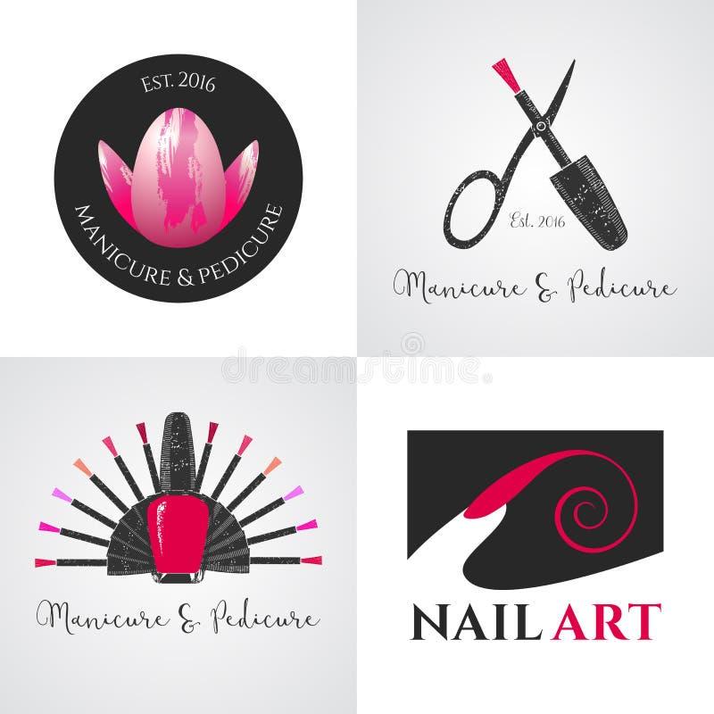 Uppsättningen av spikar salongen, spikar konstvektorlogoen, symbolen, symbolet, emblem stock illustrationer