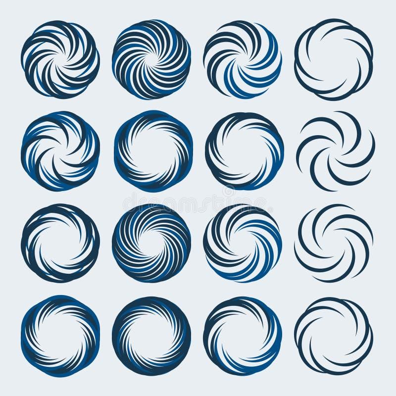 Uppsättningen av spiral- och virvellogoen planlägger beståndsdelar vektor illustrationer