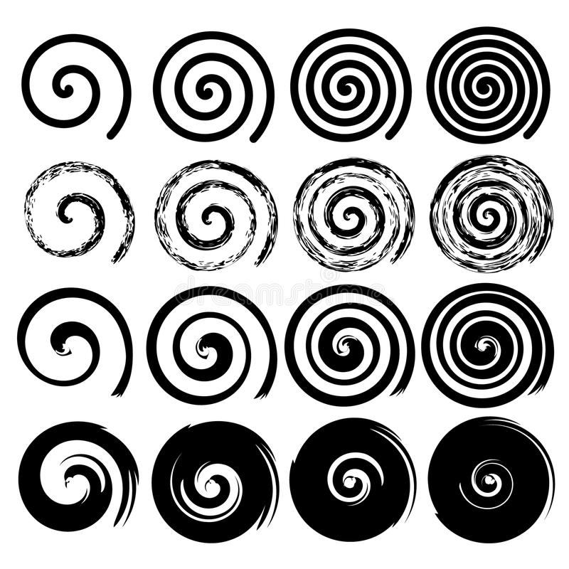 Uppsättningen av spirala beståndsdelar, svärtar isolerat s vektor illustrationer