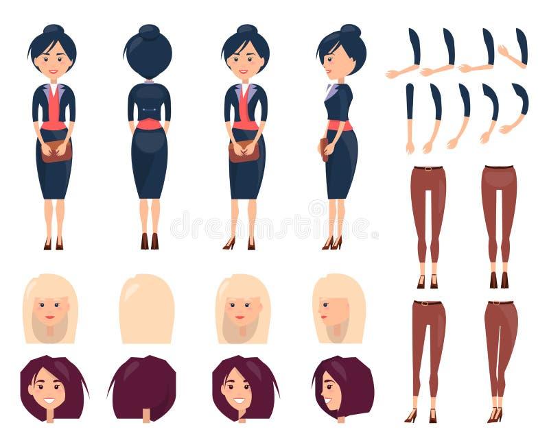 Uppsättningen av stående för kvinna s och klänningar färgar banret stock illustrationer