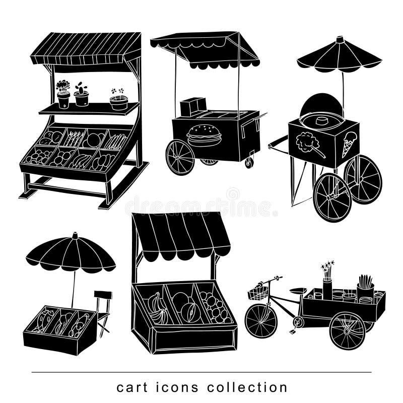 Uppsättningen av stallen shoppar och vagnen, färg för vektorillustrationsvart royaltyfri illustrationer