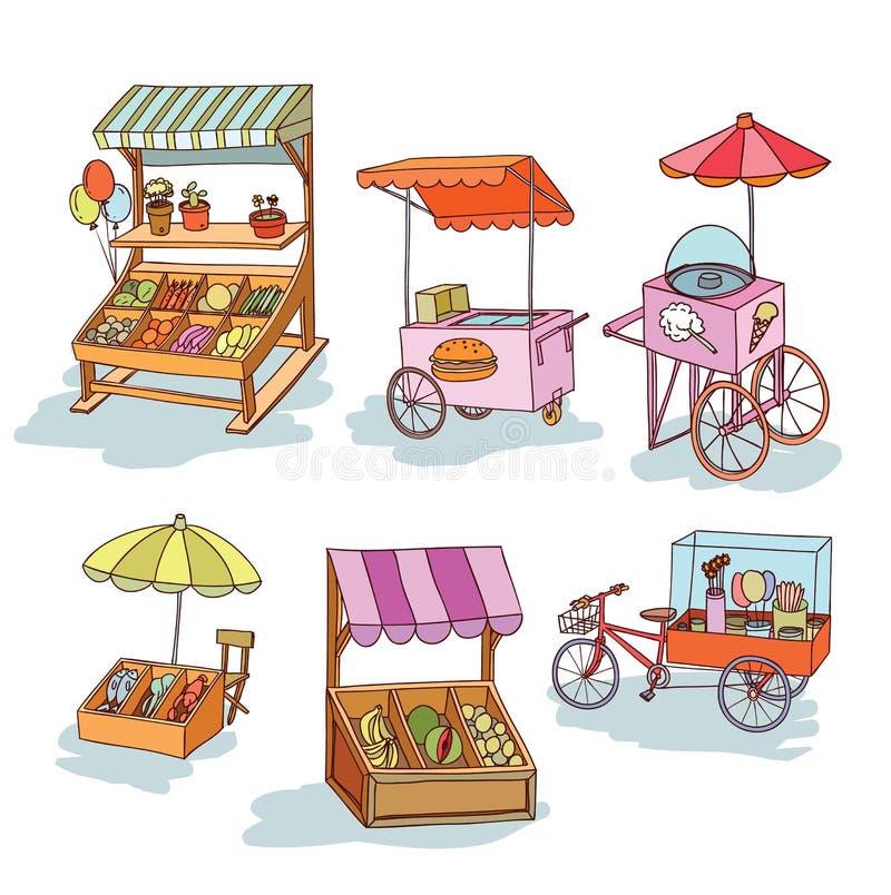 Uppsättningen av stallen shoppar och vagnen, vektorillustration vektor illustrationer