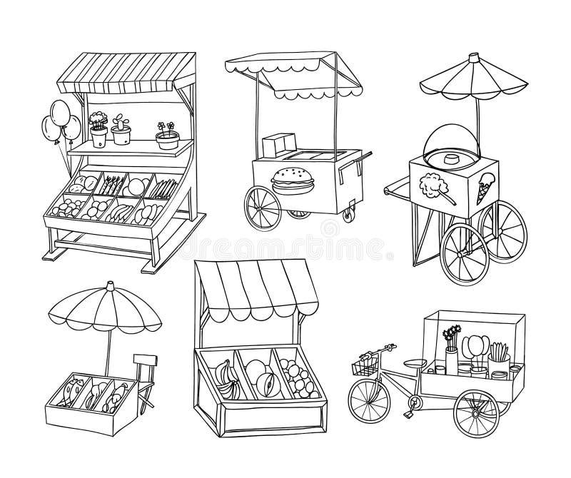 Uppsättningen av stallen shoppar och vagnen, vektorillustration stock illustrationer