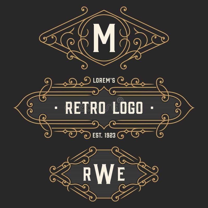 Uppsättningen av stilfulla retro logo- och emblemmallar Materielvektor vektor illustrationer