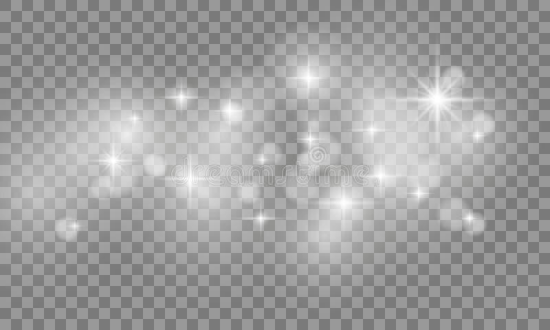 Uppsättningen av stjärnan brast och mousserar med glödande ljusa effekter Solexponering med strålkastaren på genomskinlig bakgrun vektor illustrationer