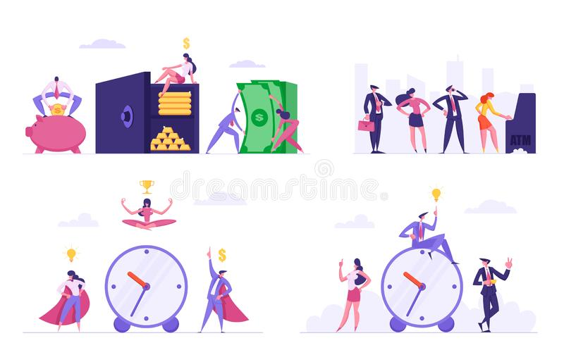 Uppsättningen av stopptiden, arbeteproduktivitet, meditation på arbetsplatsen, folk står i kö på manliga och kvinnliga tecken för royaltyfri illustrationer