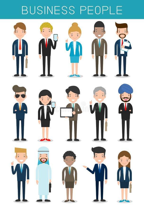 Uppsättningen av stora affärerfolk grupperar det olika lag-, affärslaget av anställda och framstickandet stock illustrationer