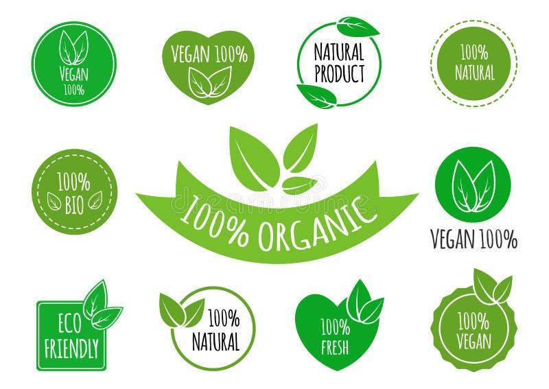 Uppsättningen av strikt vegetarian, organisk sund mat undertecknar, logoer, symboler, etiketter Sunda matemblem, etiketter ställd stock illustrationer