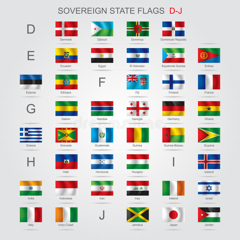 Uppsättningen av suveräna staten sjunker D-J stock illustrationer
