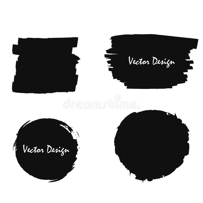 Uppsättningen av svart formar med målarfärgsudd, ramar för text stock illustrationer