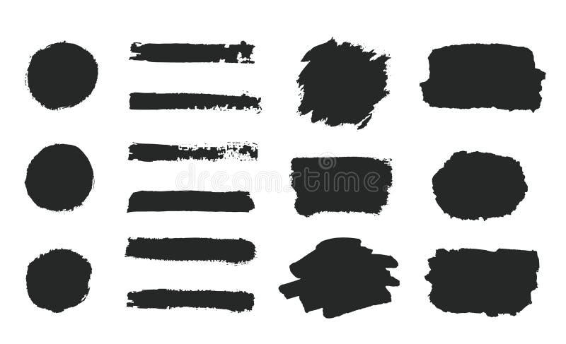 Uppsättningen av svart grungehandmålarfärg, runda former, band, färgpulverborsteslaglängder, den målade handen cirklar, borstar,  vektor illustrationer