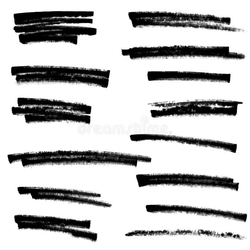 Uppsättningen av svart målarfärg, färgpulverborsteslaglängder, borstar, fodrar vektor illustrationer
