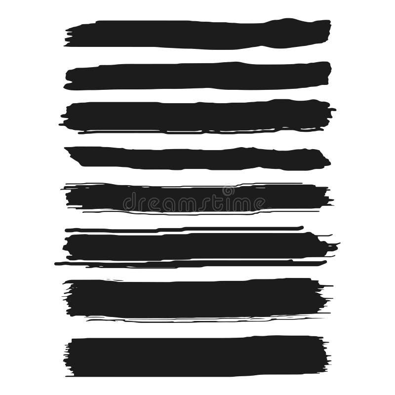Uppsättningen av svart målarfärg, färgpulverborsteslaglängder, borstar, fodrar Konstnärliga designbeståndsdelar för Grunge bakgru stock illustrationer