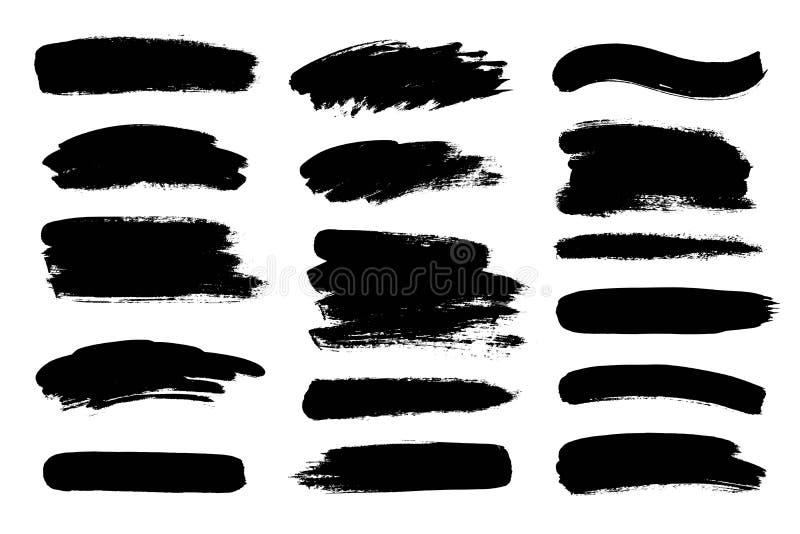 Uppsättningen av svart målarfärg, färgpulverborsteslaglängder, borstar, fodrar Smutsiga konstnärliga designbeståndsdelar royaltyfri illustrationer