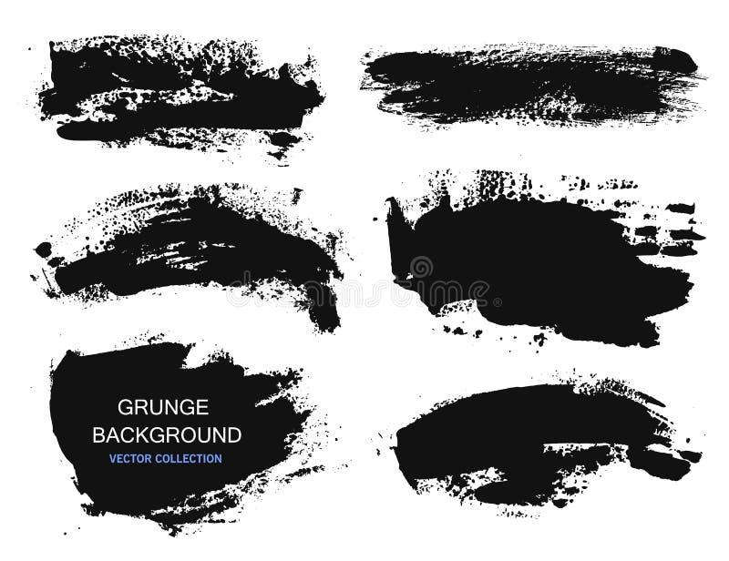 Uppsättningen av svart målarfärg, färgpulverborsteslaglängder, borstar, fodrar Smutsiga konstnärliga designbeståndsdelar, askar,  stock illustrationer