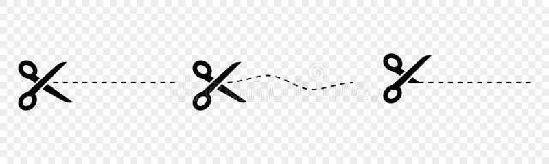 Uppsättningen av svart scissors vektorer med snittlinjer vektor illustrationer