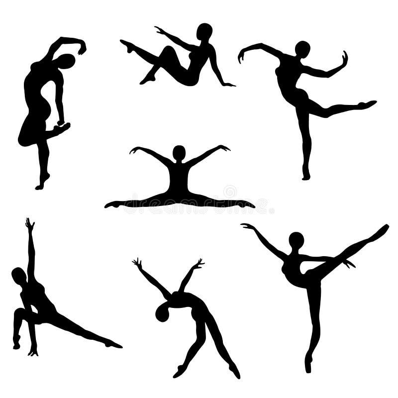 Uppsättningen av svarta konturer av flickor poserar in att dansa, kondition, gymnastik, yoga, balett på en vit bakgrund stock illustrationer