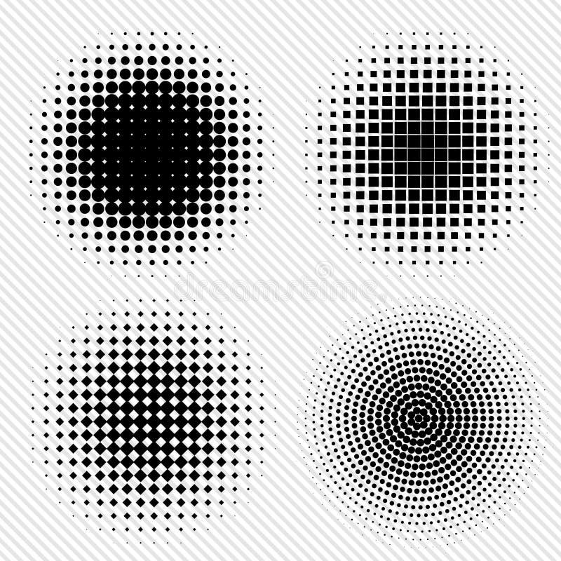 Uppsättningen av svartabstrakt begrepphalvton cirklar logoen, vektorillustration vektor illustrationer