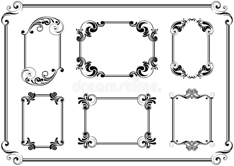 Uppsättningen av svarten inramar vektor illustrationer