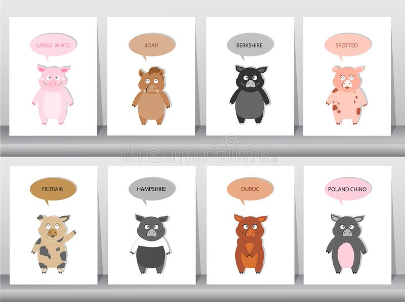 Uppsättningen av svin, gödsvin föder upp, vektorillustrationen stock illustrationer