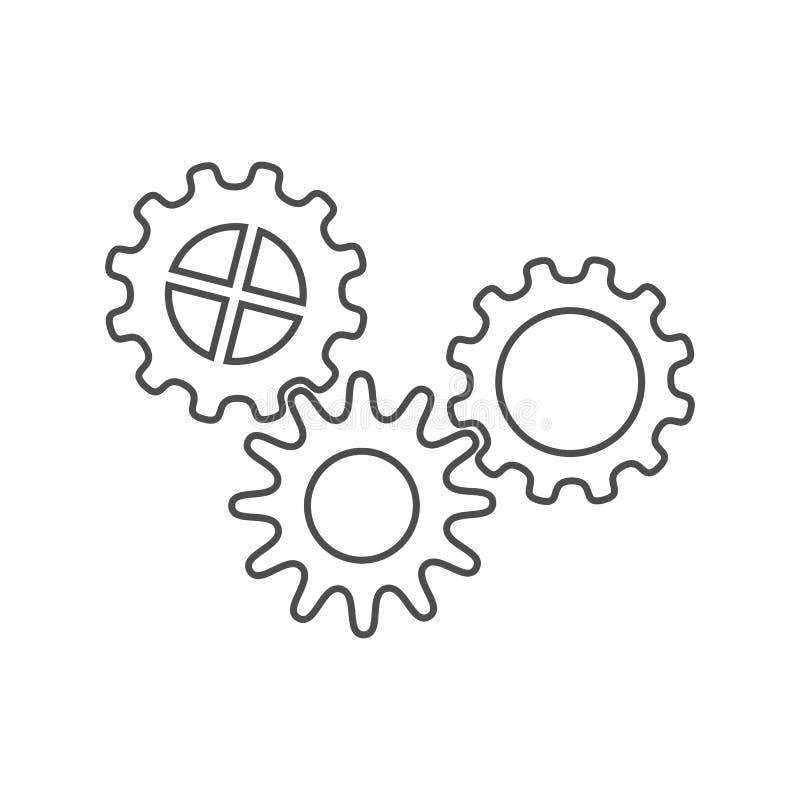 Uppsättningen av symboler av kugge tre rullar/kugghjul vektor illustrationer