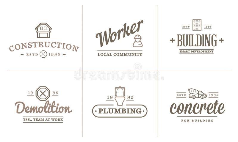 Uppsättningen av symboler för vektorkonstruktionsbyggnad returnerar, och reparationen kan användas som logo stock illustrationer