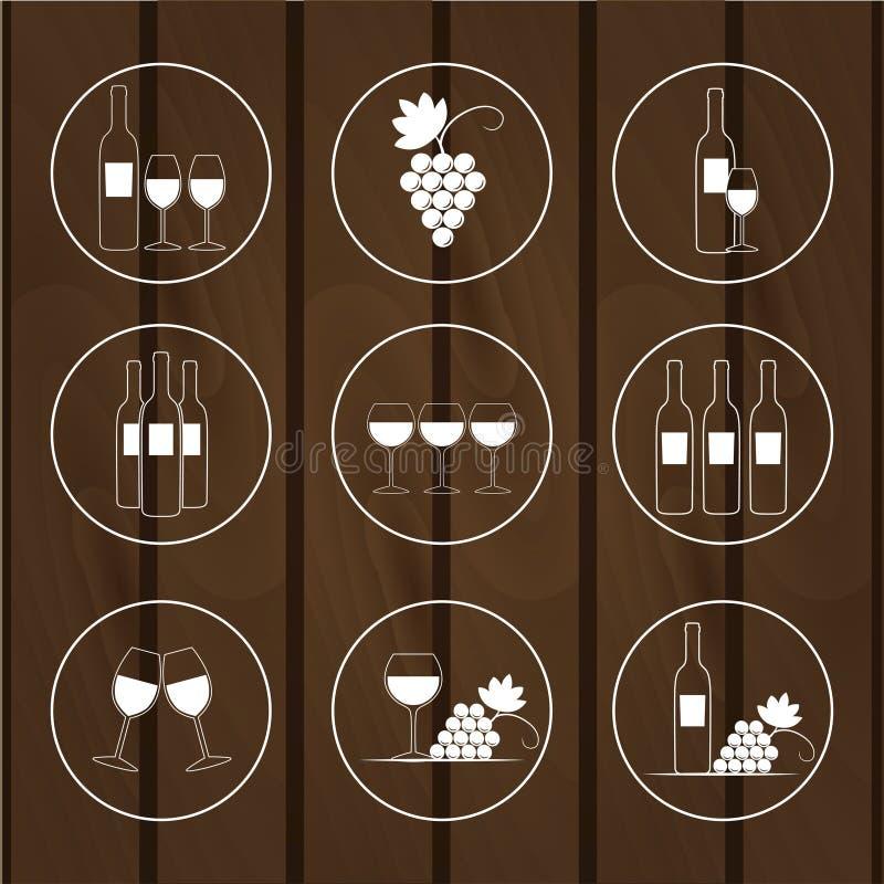 Uppsättningen av symboler för vin shoppar, illustrationen vektor illustrationer