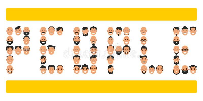 Uppsättningen av symboler med folk` s heads Samling av olik charac royaltyfri illustrationer