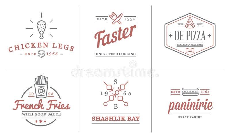 Uppsättningen av symboler och utrustning för beståndsdelar för vektorFastfoodsnabbmat som illustration kan användas som logo vektor illustrationer