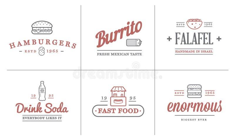 Uppsättningen av symboler och utrustning för beståndsdelar för vektorFastfoodsnabbmat som illustration kan användas som logo stock illustrationer