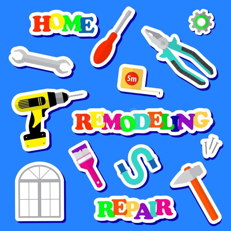 Uppsättningen av symboler omdanar hjälpmedel på en blå bakgrund Logo för husreparationsföretag Plana stilhjälpmedel för att bygga royaltyfri illustrationer