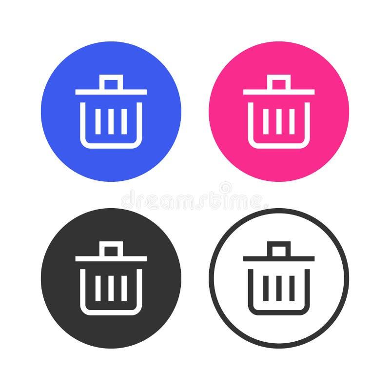 Uppsättningen av symbolsavfallsymboler royaltyfri illustrationer