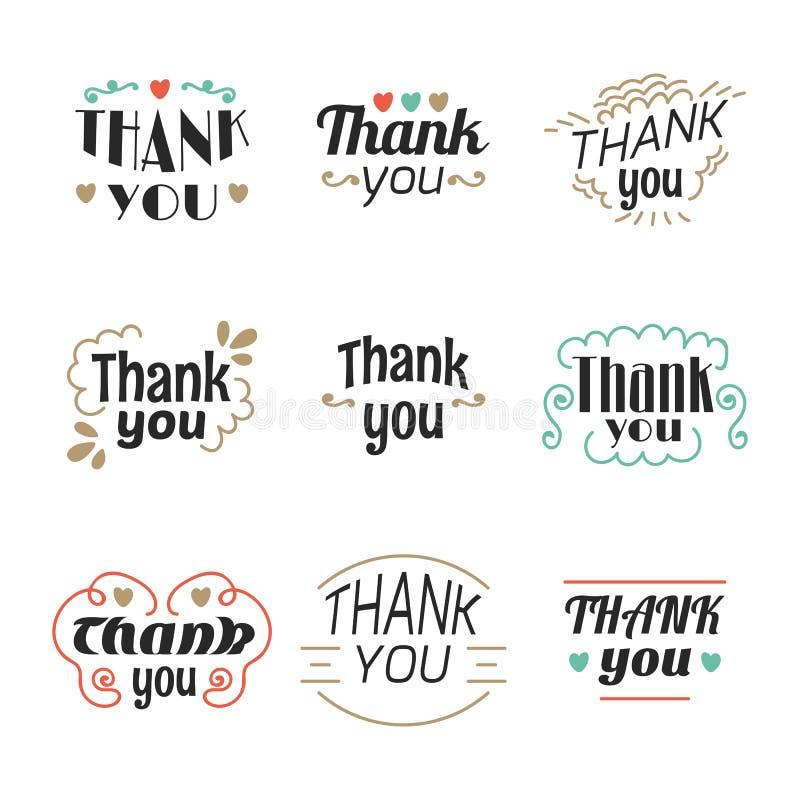 Uppsättningen av 9 tackar dig etiketter, emblem, klistermärkear eller emblem stock illustrationer