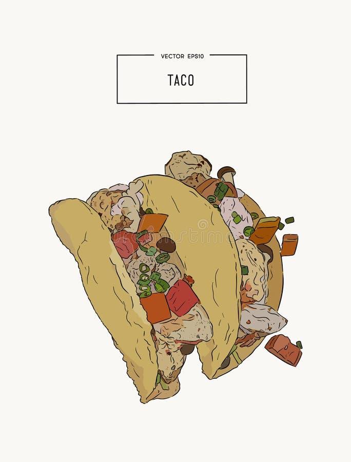 Uppsättningen av tacoes, mexikansk mathandattraktion skissar vektorn stock illustrationer