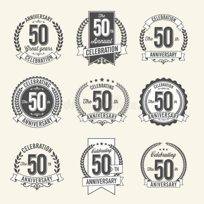 Uppsättningen av tappningårsdagen förser med märke 50th årsberöm vektor illustrationer
