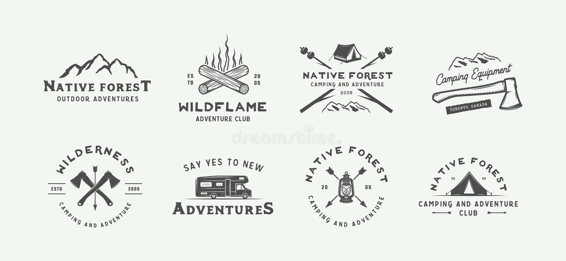 Uppsättningen av tappning som campar som är utomhus- och, äventyrar logoer, emblem stock illustrationer