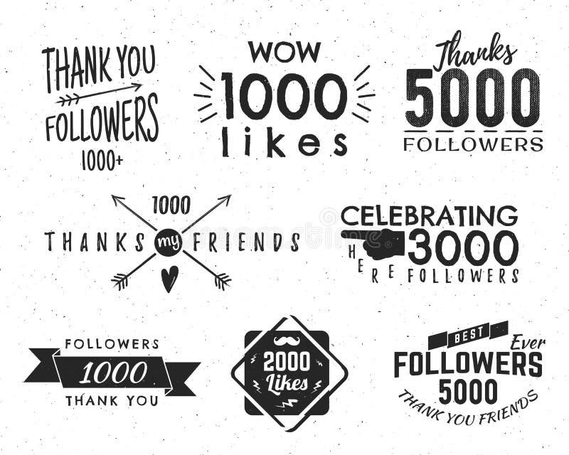 Uppsättningen av tappning tackar dig förser med märke Sociala massmediaanhängare märker och gillar klistermärkear Handskriftbokst royaltyfri illustrationer