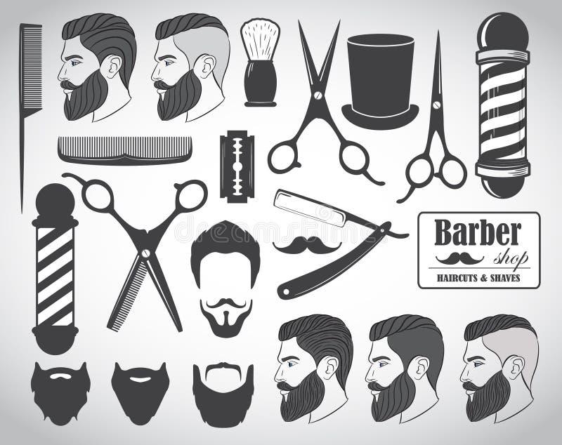 Uppsättningen av tappningbarberaren shoppar emblem, märker, emblem och planlagda beståndsdelar stock illustrationer