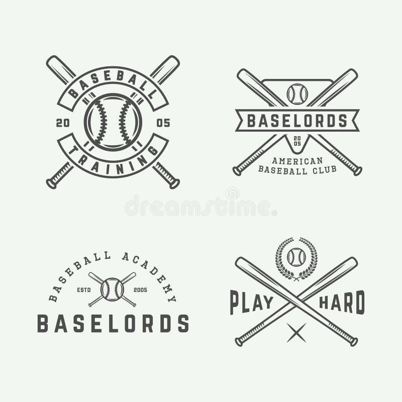 Uppsättningen av tappningbaseballlogoer, emblem, förser med märke stock illustrationer