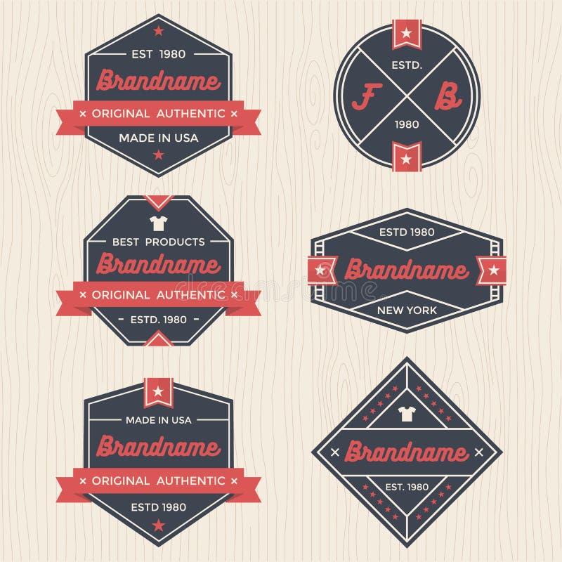 Uppsättningen av tappningemblem, baner, etiketten, bandet och logomallvektorn för affär och shoppar royaltyfri illustrationer