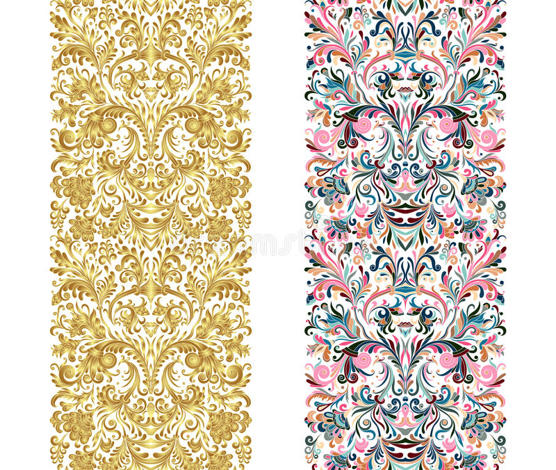 Uppsättningen av tappninggränsen borstar mallar Barocka blom- beståndsdelar för ramar planlägger och söker garneringar royaltyfri illustrationer