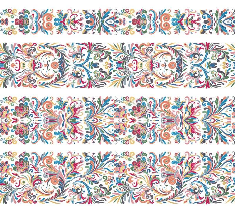Uppsättningen av tappninggränsen borstar mallar Barocka blom- beståndsdelar för ramar planlägger och söker garneringar stock illustrationer