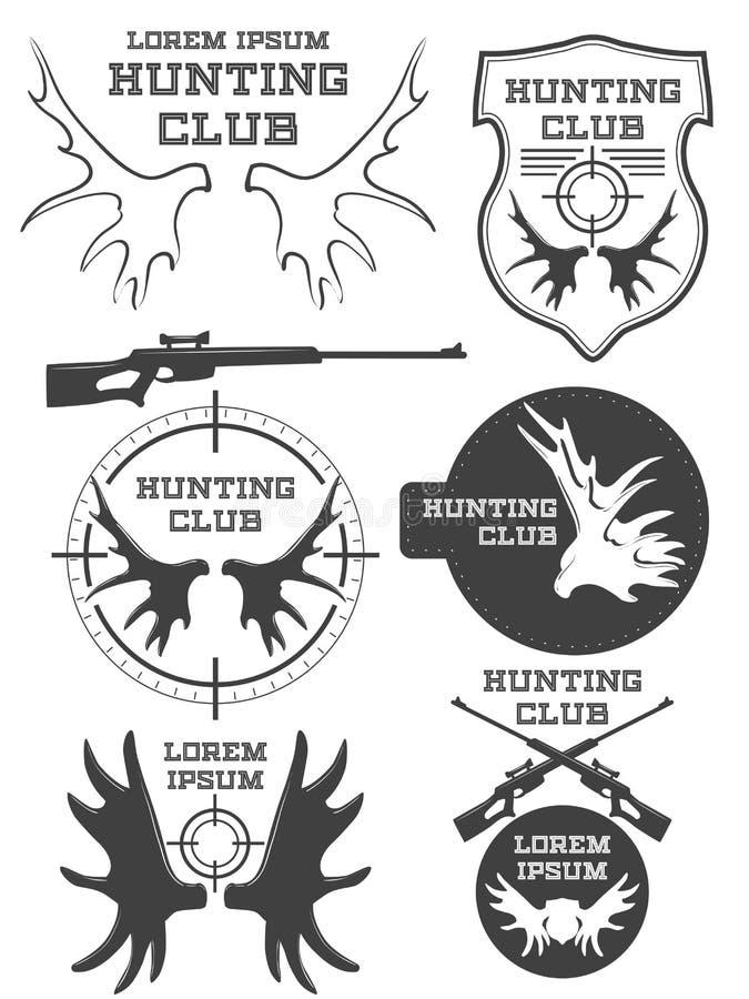 Uppsättningen av tappningjaktlogoen, märker och förser med märke Hjortar horn vapen vektor vektor illustrationer
