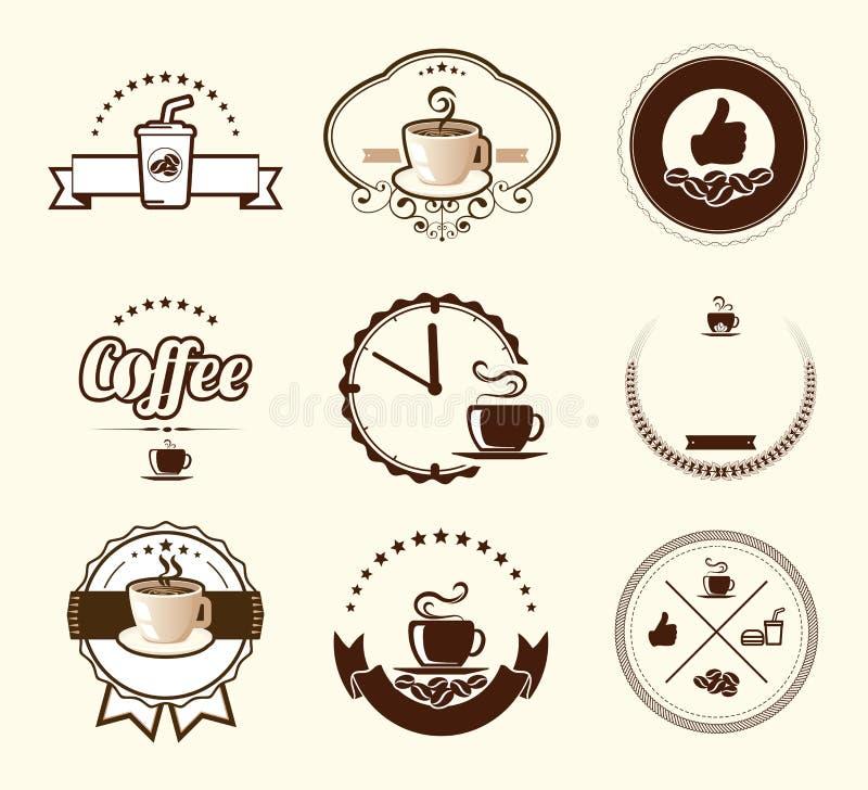 Uppsättningen av tappningkaffe förser med märke och etiketter royaltyfri illustrationer