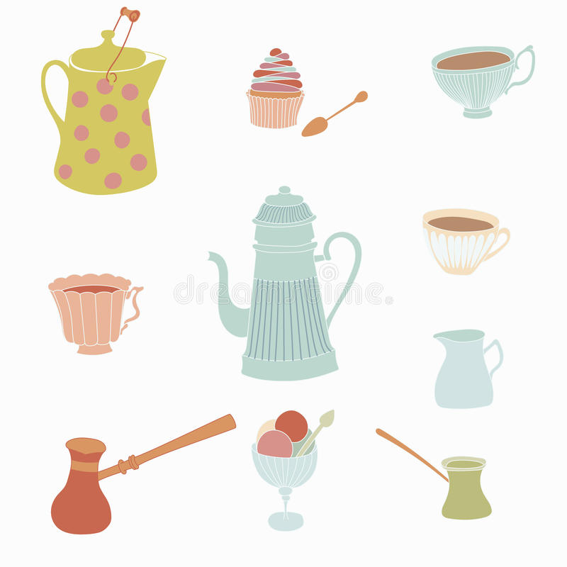 Uppsättningen av tappningkaffe lägger in, koppar royaltyfri illustrationer